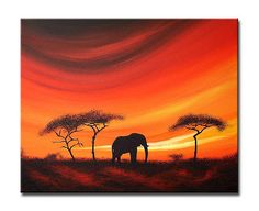 Savannah solitude' African sunset/Landscape painting by Sunset Contemporary Art by Shirley Shelton, via Flickr