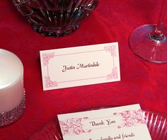 pink place card display