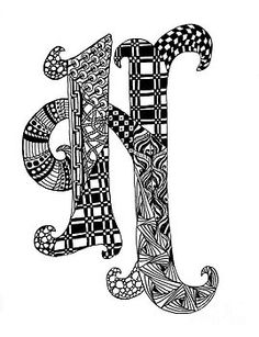 zentangle coloring pages letter n | Zentangle Letter K Monogram In Black And White by Nan ...