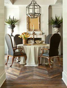 Lantern, table cloth and AMAZING floors.