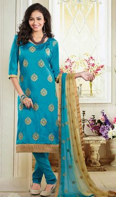 Endow a perfectly balanced silhouette donning this aqua blue shade art silk churidar kameez. You can see some intriguing patterns accomplished with lace, moti and resham work. #CasualWearDresses