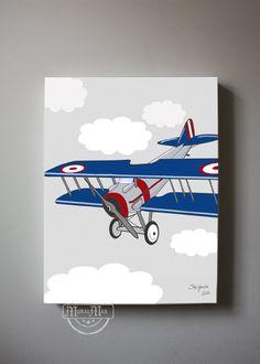 Vintage Airplane Boys wall art   - Airplane Canvas Art,  Boys Room Decor , 12 x 16 Canvas Reproduction. $65.00, via Etsy.