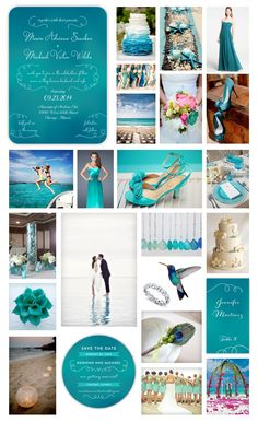 """Blue Ombre Beach Wedding Inspiration - """"Under the Sea Wedding"""" - Poolside Wedding - Underwater Teal Ombre Wedding Invitation, Round Save the Date Card and Place Card designed by Lauren DiColli Hooke for KleinfeldPaper.com"""