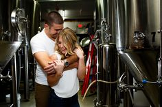 Craft beer brewery engagement portrait session.