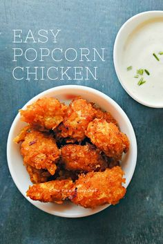 Popcorn Chicken - Bite size pieces of fried chicken with a crispy coating and a flavourful crust. You can make this delicious popcorn chicken and a dipping sauce in no time! Indian Food Recipes, Real Food Recipes, Chicken Recipes, Healthy Recipes, Ethnic Recipes, Indian Snacks, Top Recipes, Healthy Sweets, Sweets Recipes