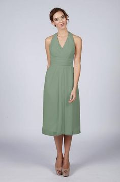 453d553faad Short Halterneck Bridesmaid Dress Green wedding