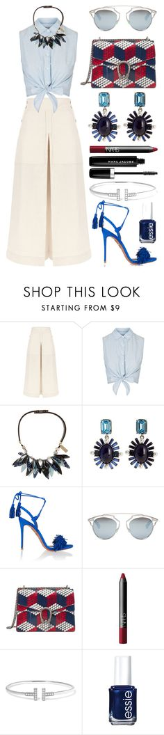 """""""#Street Style: Statement Necklace"""" by sandycyh ❤ liked on Polyvore featuring Temperley London, Topshop, Weekend Max Mara, Oscar de la Renta, Aquazzura, Christian Dior, Gucci, NARS Cosmetics, Tiffany & Co. and Essie"""