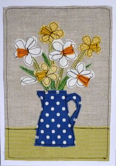 Spring flowers by Loopy Linnet - embroidery Freehand Machine Embroidery, Free Motion Embroidery, Free Machine Embroidery, Free Motion Quilting, Applique Quilts, Embroidery Applique, Embroidery Designs, Sewing Art, Sewing Crafts