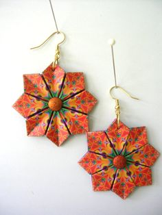 Origami Earrings Orange and Purple Modular by PaperImaginations.