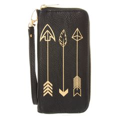 <P>Take your shot on this wristlet. Black faux leather material with 3 gold arrows printed on it. Wristlet has zip closure that opens up to various slots and zip closure change pouch.</P><UL><LI>Wristlet</LI><LI>Zip closure</LI></UL>