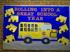 School bus bulletin board - bulletin boards by ME! September Bulletin Boards, Kindergarten Bulletin Boards, Teacher Bulletin Boards, Back To School Bulletin Boards, Library Bulletin Boards, Classroom Board, Classroom Bulletin Boards, In Kindergarten, Classroom Decor
