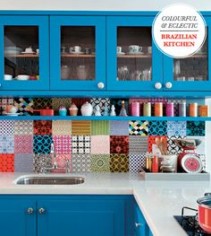 Colourful & Eclectic Brazilian Kitchen – Love the blue and the tiles!