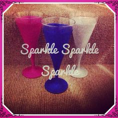Bold and bright colours glittered to these cocktail flutes. Www.facebook.com/sparktacularcreations xx