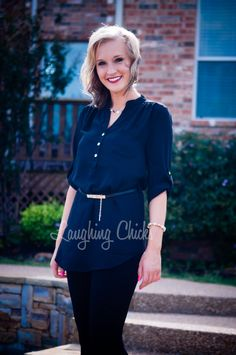 Belted Tunic Blouse - Black