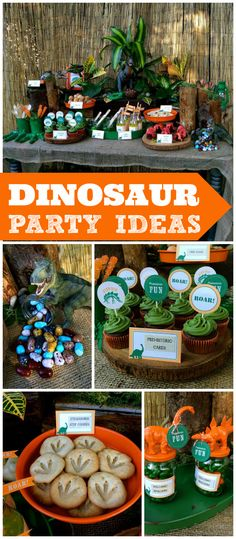 A dinosaur boy birthday party in green and orange with dino print cookies, molten lava cakes and dino egg donuts!  See more party planning ideas at CatchMyParty.com!