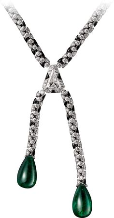 Cartier Necklace - white gold, two emerald drops from Zambia totaling 42.65 carats, one 2.09-carat D IF modified shield step-cut diamond, onyx, brilliant-cut diamonds.