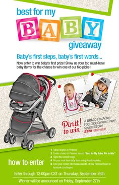 Shopko Pin to Win Best for My Baby Contest. Create  your board with pins using #bestformybaby. Then enter to win one of our top baby picks at https://www.facebook.com/shopko. Hurry contest ends Sept. 26th!