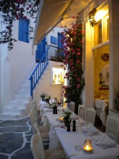 Boutique restaurant in Mykonos, Greece. Very romantic setting.
