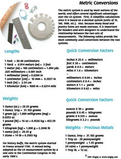 Information on converting the length of jewelry wire from metric to inches, feet, yards and miles.