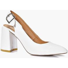 Boohoo Megan Pointed Block Heel Slingback ($44) ❤ liked on Polyvore featuring shoes, sandals, white, chunky heel sandals, white sandals, slingback sandals, white slip on shoes and white platform sandals