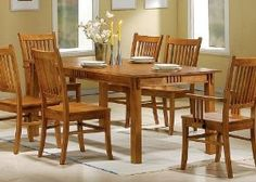 Coaster Mission Style Dining Table, Medium Brown Solid Hardwood --- http://previ.us/159