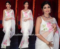 Shilpa Shetty taped an episode of Super Dancer 3 wearing a white hand painted organza saree with matching sleeveless blouse by Picchika. Floral Print Sarees, Saree Floral, Shilpa Shetty Saree, Sonakshi Sinha, Simple Saree Designs, Saree Painting, Organza Saree, Silk Sarees, White Saree