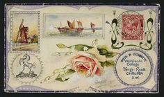 1915 (Nov. 5th) handpainted envelope with superb illustrations of a windmill, a barge and a rose, sent from Shoreham Camp to Chelsea