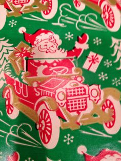 VTG CHRISTMAS SANTA&CAR WRAPPING PAPER GIFT WRAP-MID-CENTURY-CRAFT-SCRAPBOOKING Magical Christmas, Christmas Past, Retro Christmas, Vintage Christmas Wrapping Paper, Christmas Gift Wrapping, Wrapping Papers, Gift Wrapping Paper, Holiday Pictures, Christmas Scenes
