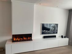 Living Room Decor Fireplace, Home Fireplace, Fireplace Design, Modern Tv Wall Units, Open Plan Kitchen Living Room, Living Spaces, Family Room, New Homes, House Design