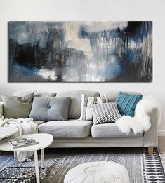 Large black and white long Abstract acrylic painting on print, silver blue painting, gray Print, large canvas print silver blue art seascape Orange Painting, Large Canvas Prints, Abstract Canvas, Canvas Art, Blue Art, Texture Painting, Hanging Art, Original Paintings, Apt Ideas
