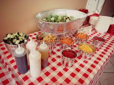 Farm theme 1st birthday party, salad bar station