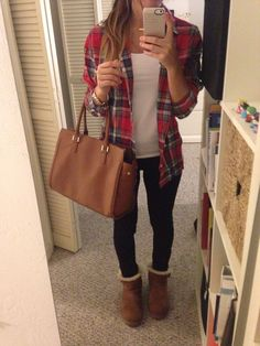 Tobi White T, Aeropostale red flannel shirt, Express black pants, Brown UGGs, H&M tan tote Tan Ugg Boots, Brown Boots Outfit, Ugg Boots Outfit, Snow Boots, Tan Uggs, Black Uggs, Ugg Shoes, Winter Outfit For Teen Girls, Fall Winter Outfits
