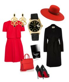 """""""RED vibes"""" by didi880526 on Polyvore featuring Alexander McQueen, Christian Louboutin, Rolex, Butter London, River Island, The Season Hats and Givenchy"""