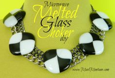 Microwave melted marbles statement necklace diy……..