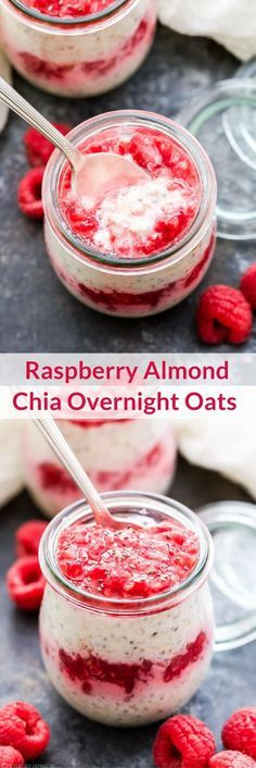 Could You Eat Pizza With Sort Two Diabetic Issues? Raspberry Almond Chia Overnight Oats Are Perfect For A Grab-And-Go Breakfast Or Snack. Make Them Tonight And Have Breakfast Waiting For You In The Morning Healthy Breakfast Recipes, Healthy Recipes, Raspberry Recipes Healthy, Healthy Breakfasts, Eating Healthy, Healthy Snacks, Clean Eating, Chia Overnight Oats, Overnight Breakfast