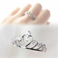 2017 Trendy Rhinestones Inlaid Hollow Out Heart Crown Shaped Gold Silver Plated Woman Ring Womens Jewelry Rings, Cute Jewelry, Women Jewelry, Silver Jewelry, Engagement Jewelry, Diamond Engagement Rings, Heart Crown, Heart Shaped Rings, Earring Trends