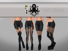 4 black leggings for your female sims.  Found in TSR Category 'Sims 4 Female Leggings'