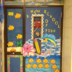 """My 1st grade classroom door for the theme """"Under the Sea""""."""
