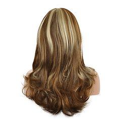 qualidade de cor mix superior peruca marrom longo tamanho blaonde cabelo encaracolado ondulado peruca sintética de 5097438 2017 por R$78,04