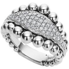 Lagos Caviar Diamond Spark Ring ($1,800) via Polyvore featuring jewelry, rings, silver, diamond rings, beads jewellery, beaded rings, band jewelry and lagos jewelry