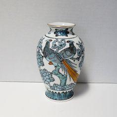 Vintage Yamayo Ceramic Vase White with Blue by FairfaxDavis