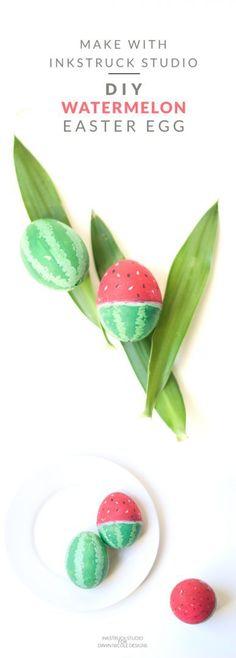 Create a super fun DIY watermelon easter egg with gouache paints - Inkstruck Studio for dawn Nicole Designs
