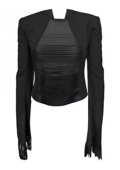 Comme des Garcons Comme des Garcons   Fringe Slash Front Long Sleeve Top Black   Hervia.com