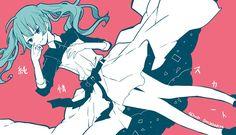 初音ミクのボカロ曲「純情スカート」の可愛いイラスト壁紙画像