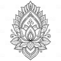 Mehndi Lotus flower pattern for Henna drawing and tattoo. Decoration in ethnic oriental, Indian style. Lotus Henna, Flower Henna, Henna Art, Lotus Mandala Tattoo, Lotus Flower Mandala, Henna Mandala, Mandala Art, Flower Tattoos, Mehndi