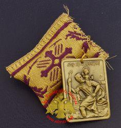 Amulet - Pendant Rectangular with Saint Christopher Metal Icon Saint Christopher, Byzantine Art, Orthodox Christianity, Traditional Fabric, Religious Icons, Amulets, Art Store, Holi, Folk Art