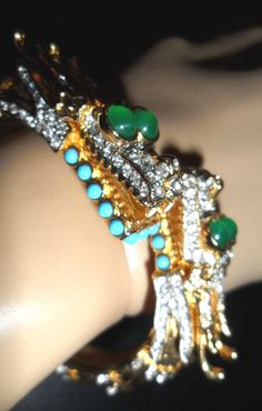 Kenneth Jay Lane KJL Dragon Bracelet fits up to 7 inches hinged cuff by GinnisGems on Etsy