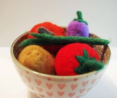 Harvest Veggies - needle felted play food and wool basket, pure wool, Waldorf-inspired, by Niko and Nonnie - Free Shipping