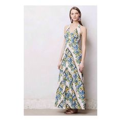"Anthropologie Soraya Maxi Dress Soraya Maxi Dress Boasting summer's most emblematic blooms, this linen-blend, mix-print maxi is perfect for kicking back and enjoying the weather. Side pockets   Side zip  Linen, rayon   Dry clean   Regular: 59""L  Petite: 56.25""L Anthropologie Dresses Maxi"