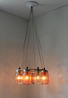 $210 Pink Party Mason Jar Chandelier - Upcycled Hanging Mason Jar Lighting Fixture Direct Hardwire - BootsNGus Lamps Rustic Home Decor